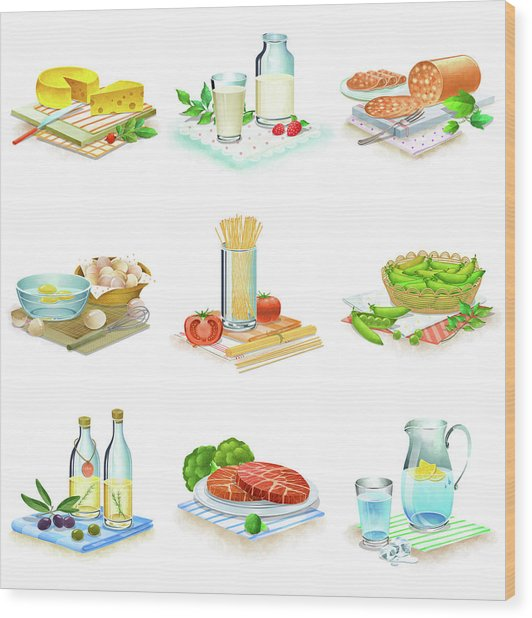 Close-up Of Food Stuff Wood Print by Eastnine Inc.