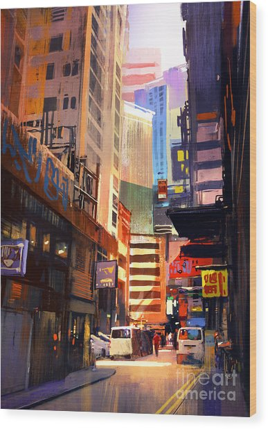 Colorful Painting Of City Wood Print