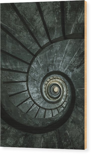 Dark Spiral Staircase Wood Print