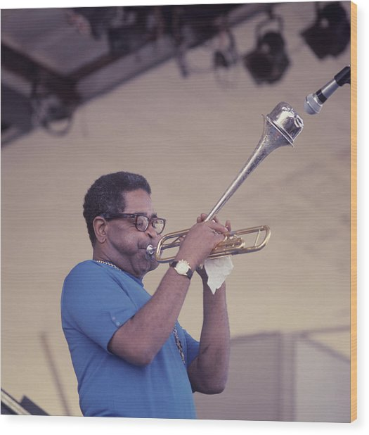Dizzy Gillespie Performs At Newport Wood Print by David Redfern