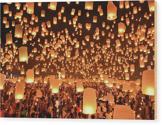 Floating Lanterns  Yi Peng In Thailand Wood Print