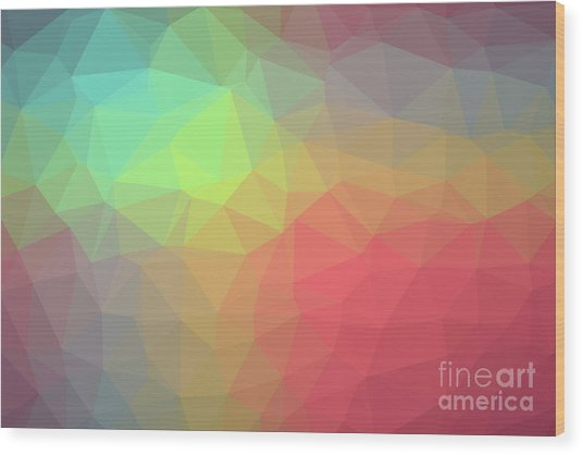 Gradient Background With Mosaic Shape Of Triangular And Square C Wood Print