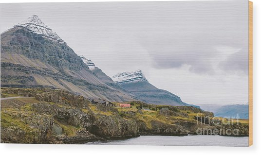 High Icelandic Or Scottish Mountain Landscape With High Peaks And Dramatic Colors Wood Print