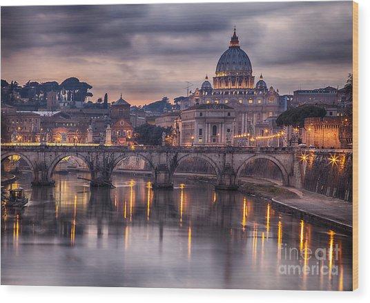 Illuminated Bridge In Rome, Italy Wood Print