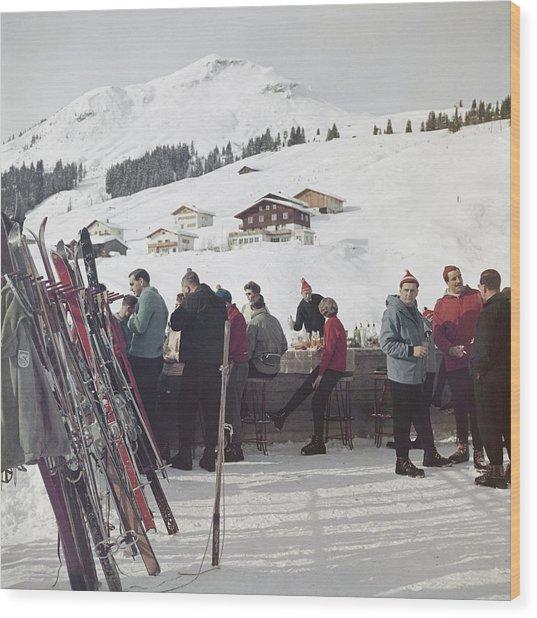 Lech Ice Bar Wood Print by Slim Aarons