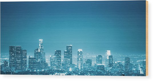 Los Angeles Skyline Wood Print by Franckreporter