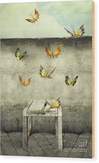 Many Colorful Butterflies Flying Into Wood Print