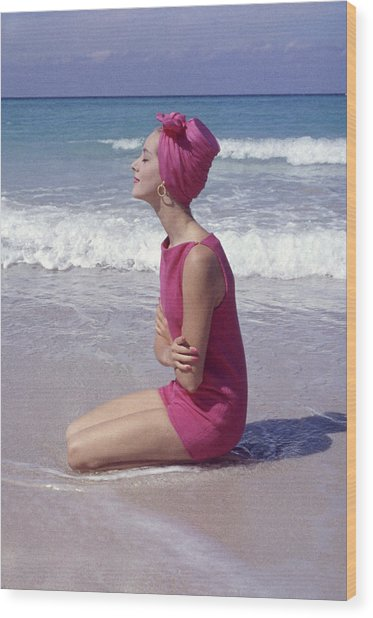 Model On The Beach Wood Print by Gordon Parks