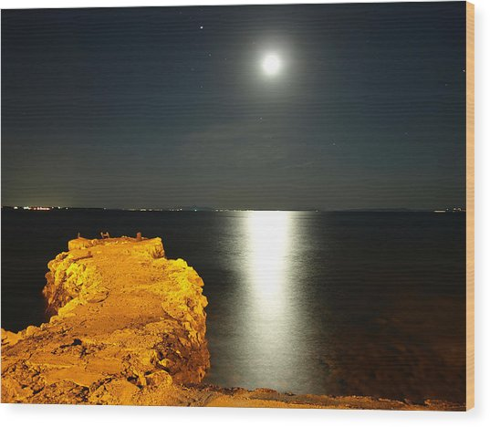 Moonshine Seascape And Old Pier Wood Print