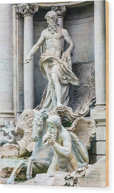Neptune, Nymphs, Seahorse Statues Wood Print by William Perry