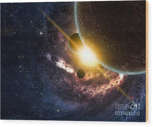Planets Over The Nebulae In Space Wood Print