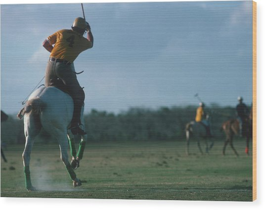 Polo Match Wood Print by Slim Aarons