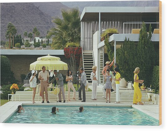 Poolside Party Wood Print