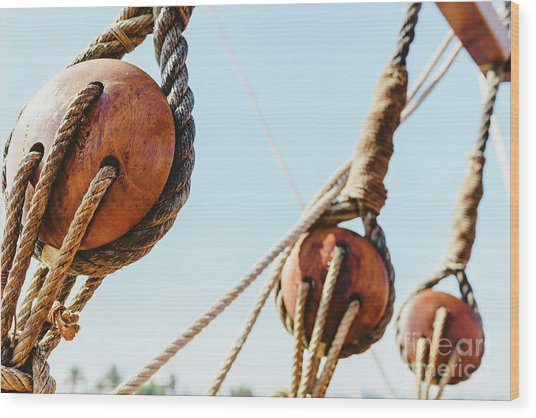 Rigging And Ropes On An Old Sailing Ship To Sail In Summer. Wood Print