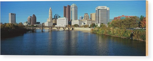 Scioto River And Columbus Ohio Skyline Wood Print by Visionsofamerica/joe Sohm