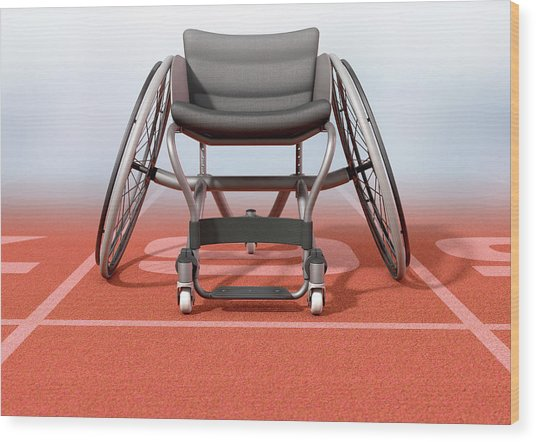 Sports Wheelchair On Athletics Track Wood Print