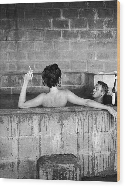 Steve Mcqueen & Wife Wood Print