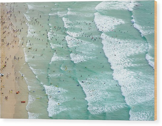 Swimmers And Surfers On Beach, Aerial Wood Print