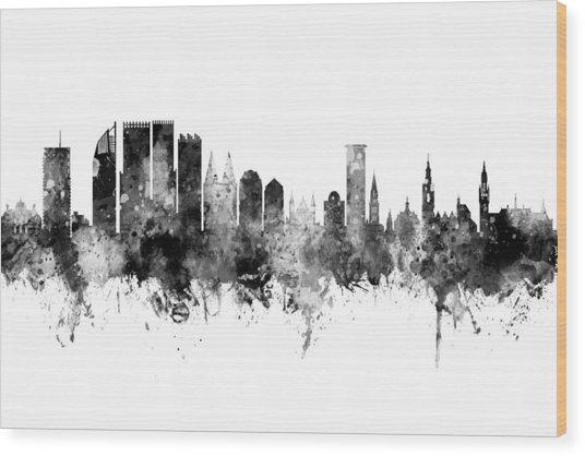 The Hague Netherlands Skyline Wood Print