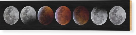 2019 Lunar Eclipse Progression Wood Print