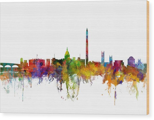 Washington Dc Skyline Wood Print
