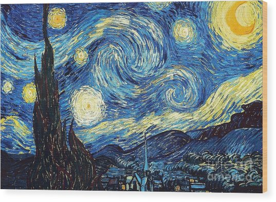 Wood Print featuring the painting Starry Night By Van Gogh by Vincent Van Gogh