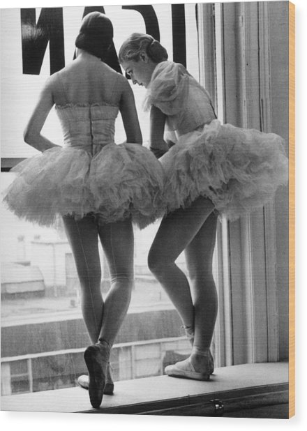 Ballerinas Standing On Window Sill In Wood Print
