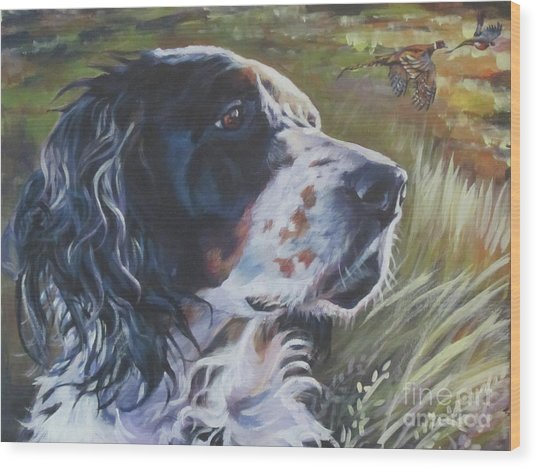 English Setter In The Field Wood Print