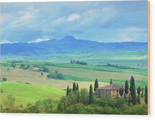 Farm In Tuscany Wood Print by Mammuth