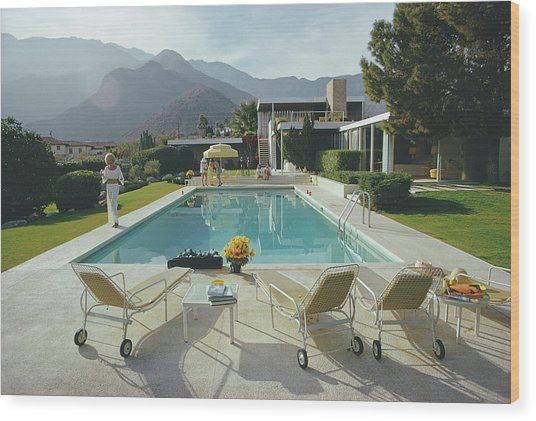Kaufmann Desert House Wood Print by Slim Aarons