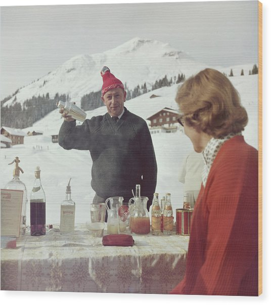 Lech Ice Bar Wood Print by Slim Aarons