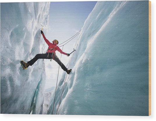 Man Ice Climbing, Pasterze Glacier Wood Print