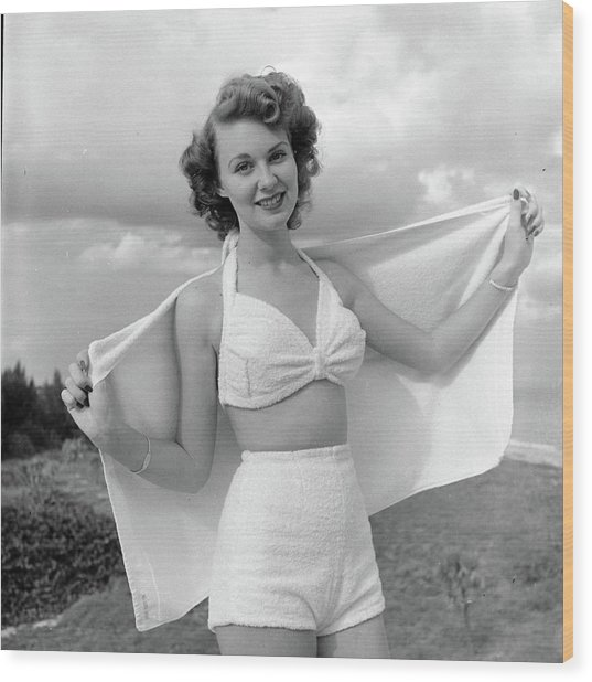 Model Posing On Beach In Two Piece Wood Print