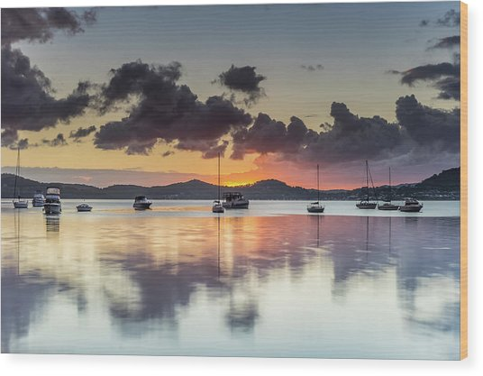 Overcast Morning On The Bay With Boats Wood Print