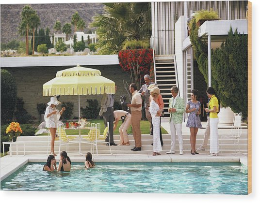 Poolside Party Wood Print by Slim Aarons