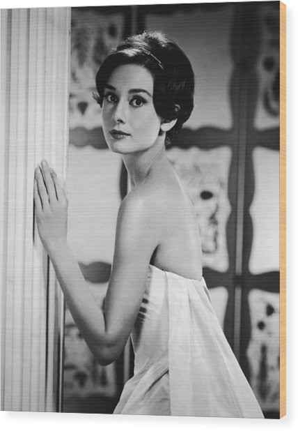 Portrait Of Audrey Hepburn Wood Print by Hulton Archive