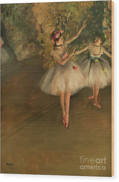 Two Dancers On A Stage Wood Print