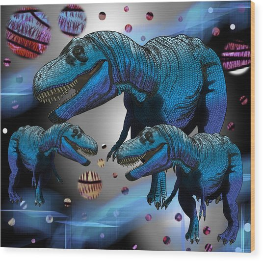 Wood Print featuring the drawing Tyrannosaurus Three Moons by Joan Stratton
