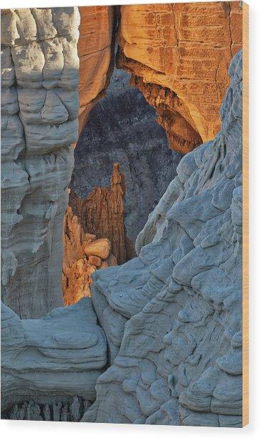 Unique Formations At Sunrise, Coal Wood Print by Adam Jones