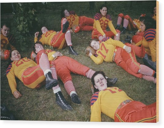 Womens Football Wood Print by Michael Ochs Archives