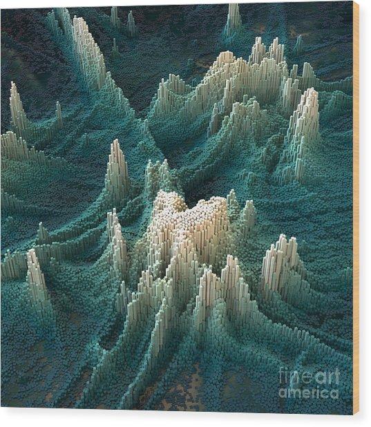 3d Abstract Fantasy Cubes Grid Wood Print