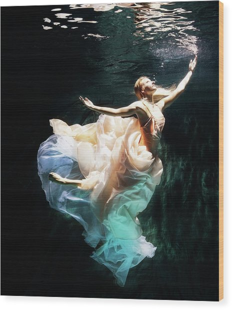 Female Dancer Performing Under Water Wood Print by Henrik Sorensen
