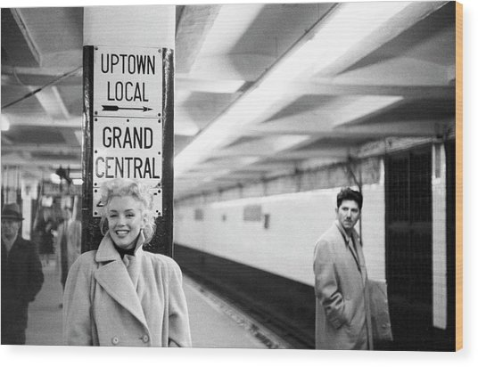 Marilyn In Grand Central Station Wood Print