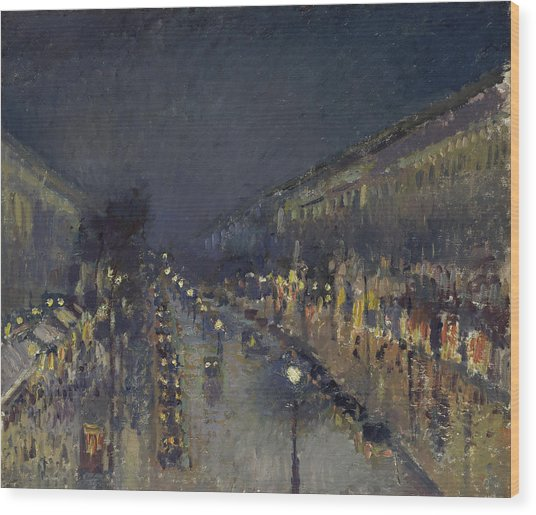 The Boulevard Montmartre At Night Wood Print