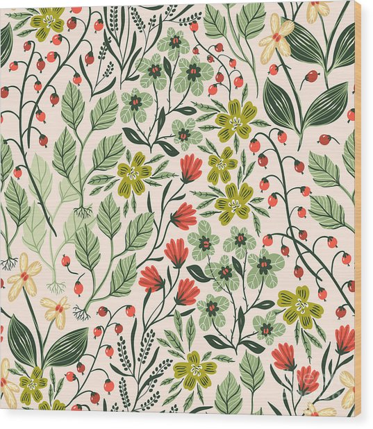 Vector Floral Seamless Pattern With Wood Print