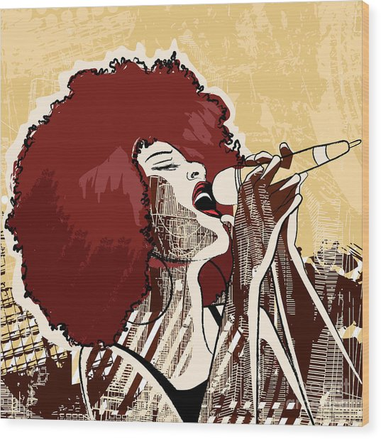 Vector Illustration Of An Afro American Wood Print by Isaxar