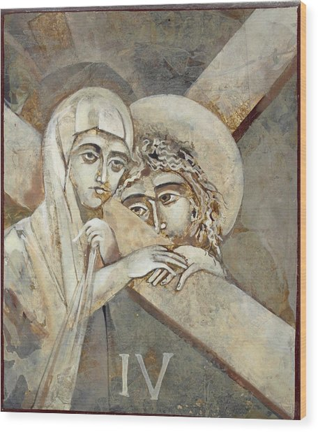 4th Station Of The Cross Wood Print