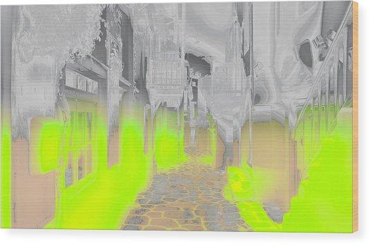 Mykonos - Alley Wood Print