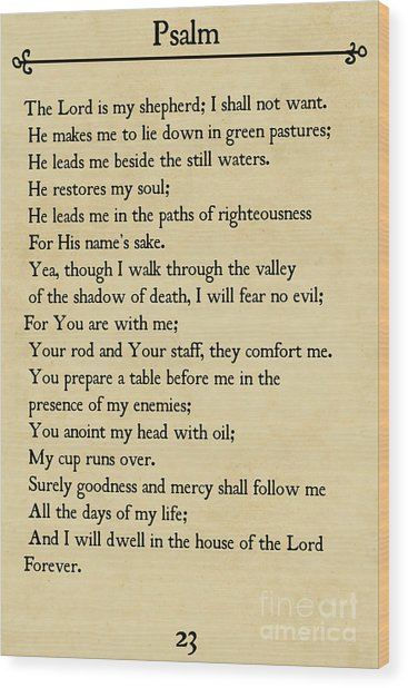 Psalm 23-bible Verse Wall Art Collection Wood Print