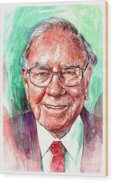 Warren Buffett Portrait Wood Print